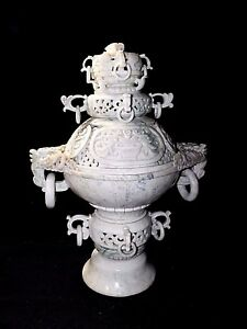 Large Antique Hand Carved Dragon Chinese Jade Incense Burner 22