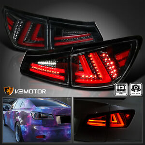 Jet Black For 2006 2008 Lexus Is250 Is350 Full Led Rear Tail Lights Brake Lamps