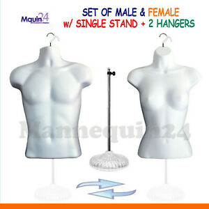 Male Female Torso Mannequin Set Forms white 1 Stand 2 Hangers