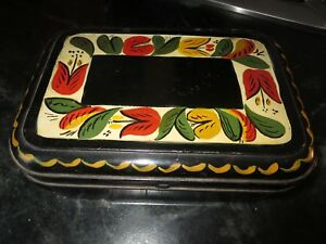 Antique Tole Ware Hand Painted Spice Box W 6 Tin Caddy Canisters