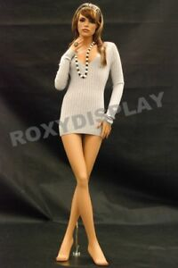 Female Fiberglass Mannequin Pretty Face Elegant Pose Dress From Display md fr8