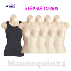 Flesh Mannequin Female Torsos Lot Of 5 Plastic Hanging Dress Forms