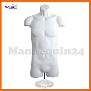 White Mannequin Male Torso W Table Top Stand Hanger Plastic Dress Form