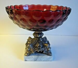 Vintage Anchor Hocking Bubble Ruby Red Bowl On A Metal Marble Base Compote Candy