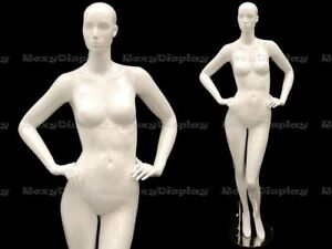 Female Fiberglass Mannequin Glossy White Abstract Fashion Style mc anna03