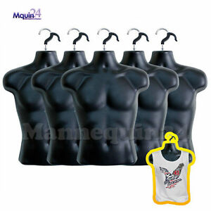 5 Mannequin Male Torsos lot Of 5 Piece Plastic Men Hanging Dress Forms