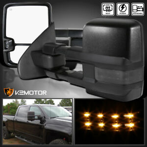 2014 2018 Silverado Sierra Power Heated Extend Towing Mirrors W Smoke Led Signal