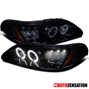 For 94 98 Ford Mustang Led Drl Glossy Black Smoke Halo Projector Headlights Pair