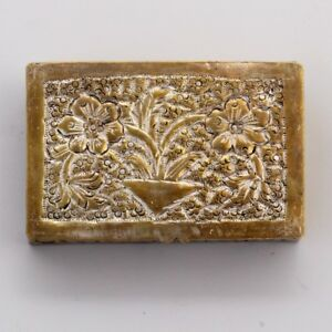 Antique Islamic Copper Low Silver Box Etched Pill Box Flower Engraving