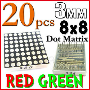 20 Dot Matrix Led 3mm 8x8 Red Green Common Anode 24 Pin 64 Led Displays Module