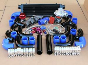 T3t4 Turbo Manifold Black Intercooler Blue Coupler Kit For D15 D16 Honda Civic