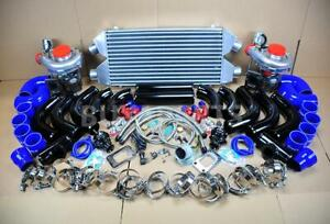 Diy Twin Turbo Kit Intercooler Black Pipe Blue Coupler For Mitsubishi 3000gt Vr4