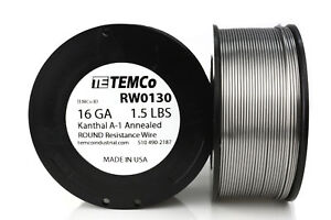 Temco Kanthal A1 Wire 16 Gauge 1 5 Lb 159 Ft Resistance Awg A 1 Ga