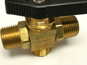 Brass 3way Ball Valve 1 2 Mnpt X Mnpt X Mnpt Ptfe Seats 1000psi