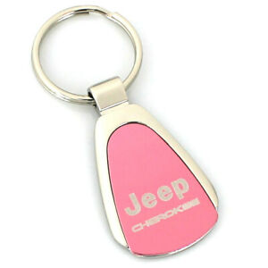 Jeep Cherokee Pink Tear Drop Metal Key Ring