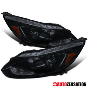 For 2012 2014 Ford Focus Led Drl Glossy Black Smoke Projector Headlights Lamps