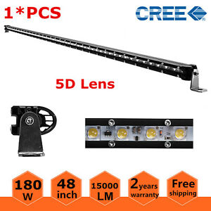 48inch 180w Cree Led Work Light Bar Offroad Driving Lamp Single Row Jeep 5d Lens