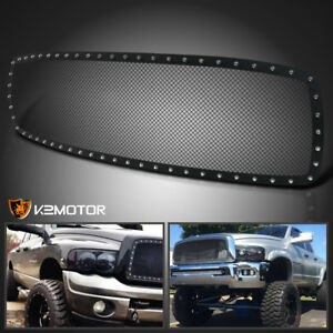 For 2002 2005 Dodge Ram 1500 2500 Black Texture Rivet Style Upper Grille Insert