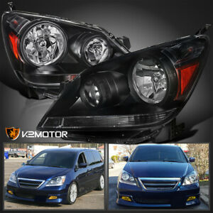 For 2005 2007 Honda Odyssey Black Headlights Head Lamps Left Right