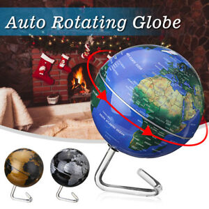 360 Automatic Rotating Earth Globe World Map Geography Educate Tool Gift