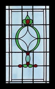 Glorious Art Deco Emerald Red English Stained Glass Window With Occluded Glass