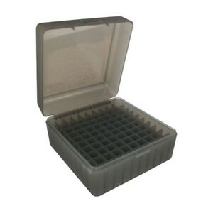 MTM RM10041 Clear Smoke Rifle Ammo Box 100 Round Flip-Top