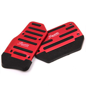 Non Slip Automatic Car Vehicle Auto Brake Gas Pedals Cover Set Red For Jeep Bmw