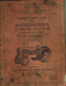 Massey harris Vintage 55 Diesel Tractor Parts Manual original 690 086 M4