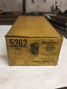 Vintage Hubbell 5262 15 Amp Outlets Receptacles Box Of 10 Nos New