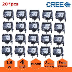 20x 4 inch 18w Cree Flood Pod Lights Led Work Light Offroad Driving Lamp 4d Lens