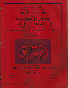Massey harris Vintage 55 Diesel Tractor Parts Manual original 690 145 M2