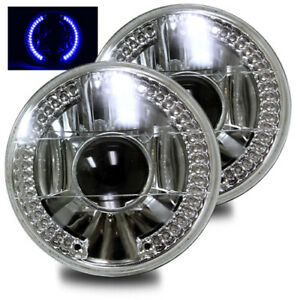 7 Round H6014 H6015 H6024 Crystal Diamond Blue Led Ring Projector Headlights