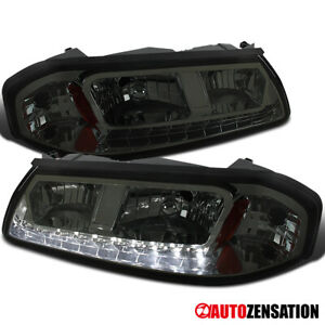 For 2000 2005 Chevy Impala Led Drl Smoke Lens Headlights Lamps Left Right Pair