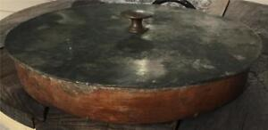 Antique Thick Wood Tin Lid Cover Icechest Freezer Icecream Cart Cooler Country