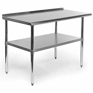 Gridmann Stainless Steel Commercial Kitchen Prep Work Table With Backsplash X