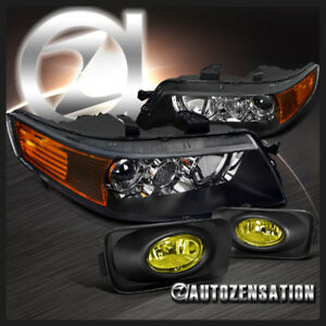 2004 2005 Acura Tsx Black Projector Headlights Yellow Fog Lamps Switch Kit Pair