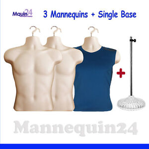 3 Pack Flesh Male Torso Mannequins 3 Hangers 1 Stand Dress Form Display