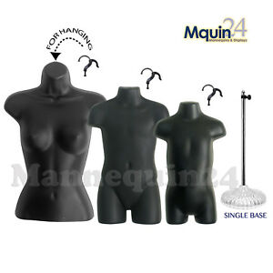 3 Black Mannequins female Child Toddler Body Forms 1 Stand 3 Hangers