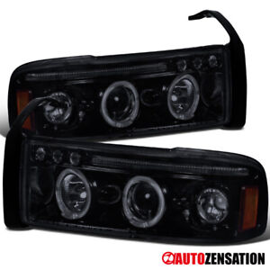 For 1994 2001 Dodge Ram 1500 Glossy Black Smoke Led Halo Projector Headlights