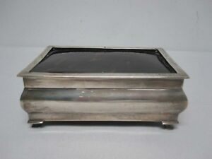 Antique 1896 London Sterling Silver Footed Hinged Box With Polished Top