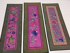 Oriental Antique Silk Tapestry Lot Of 3 Bright Rich Pinks Greens Blue Floral Euc