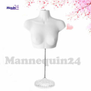 New Female Torso Mannequin Form White W Acrylic Base