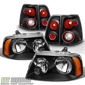 2003 2006 Lincoln Navigator Black Headlights Tail Lights Lamps Left right Set