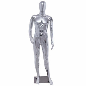 Male Full Size Silver Body Mannequin Plastic Abstract Egg Head Metal Stand Base