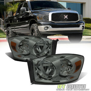 Smoked 2007 2009 Dodge Ram 1500 2500 Headlights Headlamps Replacement Left Right