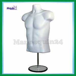 Male Mannequin Hanger Torso Form Stand Display Apparel Men T shirt White