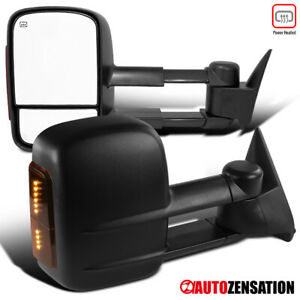Pair 88 98 Chevy C k 1500 2500 3500 Black Led Manual Adjust Side Towing Mirrors