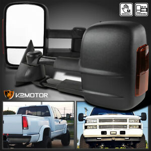 88 98 Chevy Gmc C K 1500 Tahoe Led Signal Manual Extend Towing Side Mirrors Pair