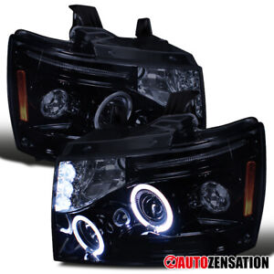 For 07 13 Chevy Tahoe Suburban Black Smoke Led Halo Projector Headlights L r