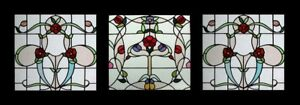 Stunning Set Of 3 Art Nouveau Floral Antique Stained Glass Windows